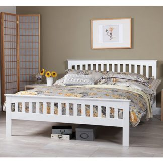 An Image of Amelia Hevea Wooden King Size In Opal White