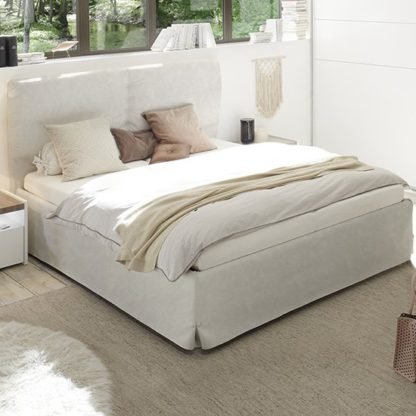 An Image of Civic Faux Leather Double Bed In Clay Effect