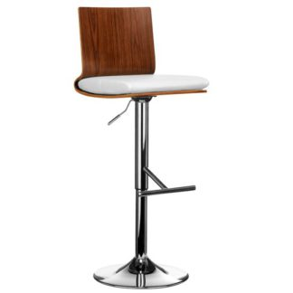 An Image of Savial Wooden Bar Stool In Walnut With White Leather Seat
