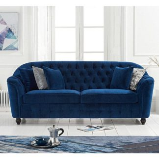An Image of Karrio Linen Fabric 3 Seater Sofa In Blue