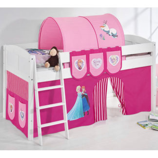 An Image of Hilla Children Bed In White With Frozen Pink Curtains