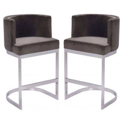An Image of Lauro Grey Velvet Bar Chairs In Pair With Silver Legs