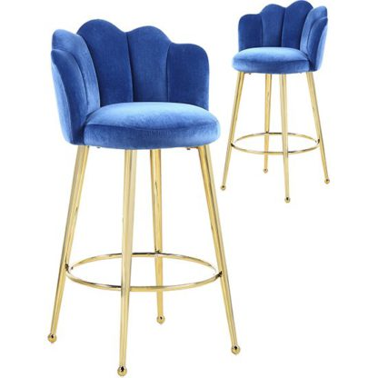 An Image of Mario Blue Velvet Bar Stools In Pair With Gold Legs