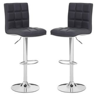 An Image of Treno Grey Faux Leather Gas Lift Bar Stools In Pair
