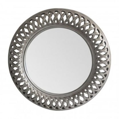 An Image of Tesserae Round Wall Bedroom Mirror In Antique Silver Frame