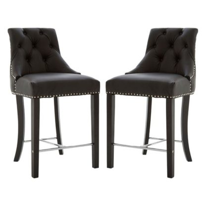 An Image of Trento Park Black Faux Leather Bar Chairs In Pair