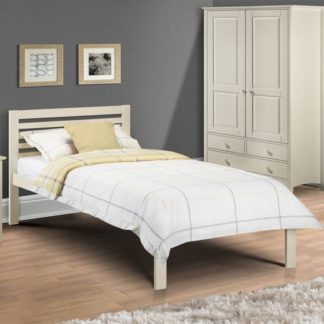 An Image of Slocum Wooden Single Bed In Stone White