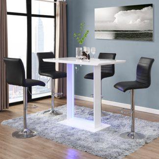 An Image of Atlantis White Gloss Bar Table With LED And 4 Ripple Black Stool