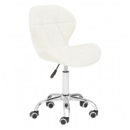 An Image of Sitoca Velvet Home And Office Chair In White With Swivel Base