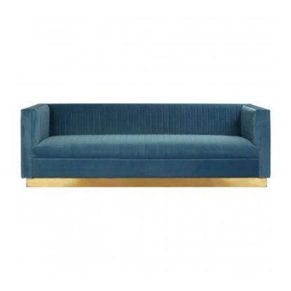 An Image of Opals 3 Seater Velvet Sofa In Light Blue