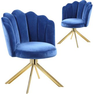 An Image of Mario Blue Velvet Dining Chairs In Pair With Gold Legs