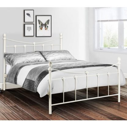An Image of Rebecca Metal Double Bed In Stone White