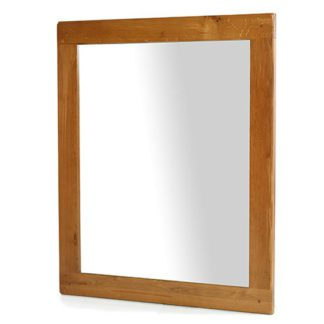 An Image of Earls Wall Bedroom Mirror In Chunky Solid Oak Frame