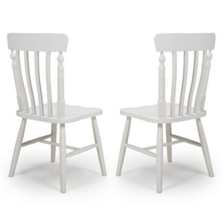 An Image of Oxford Wooden White Slat Back Dining Chairs In A Pair
