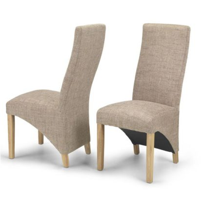 An Image of Devon Beige Tweed Dining Chairs In A Pair With Natural Legs