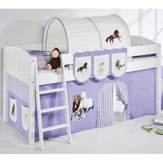 An Image of Hilla Children Bed In White With Horses Purple Curtains