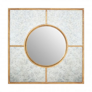 An Image of Zaria Art Deco Wall Bedroom Mirror In Gold Frame