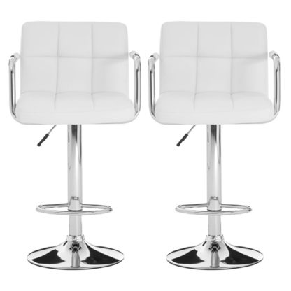 An Image of Stocam White Faux Leather Gas Lift Bar Stools In Pair
