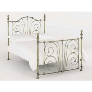An Image of Jessica Metal Double Bed In Antique Nickel