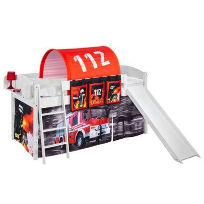An Image of Lilla Slide Children Bed In White With Fire Department Curtains