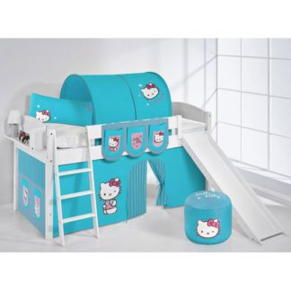 An Image of Lilla Slide Children Bed In White With Kitty Turquoise Curtains