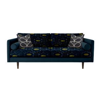 An Image of Orla Kiely Mimosa Large Sofa, Patterned Velvet