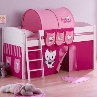 An Image of Hilla Children Bed In White With Angel Cat Sugar Curtains