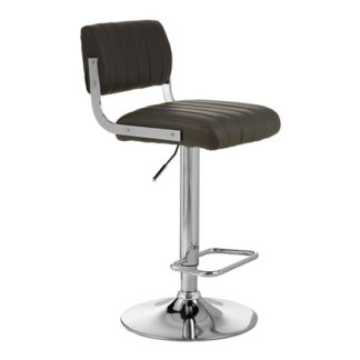 An Image of Porrima Channel Design Leather Seat Bar Stool In Grey