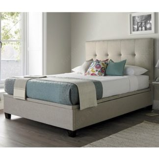An Image of Florus Fabric Ottoman Storage Double Bed In Oatmeal
