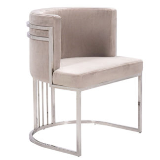 An Image of Casoli Velvet Dining Chair In Beige With Silver Legs