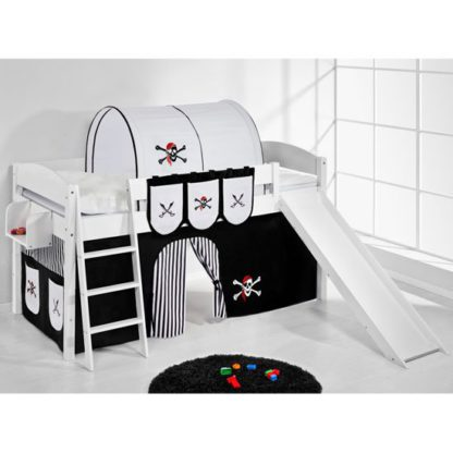 An Image of Lilla Slide Children Bed In White And Pirate Black White Curtain