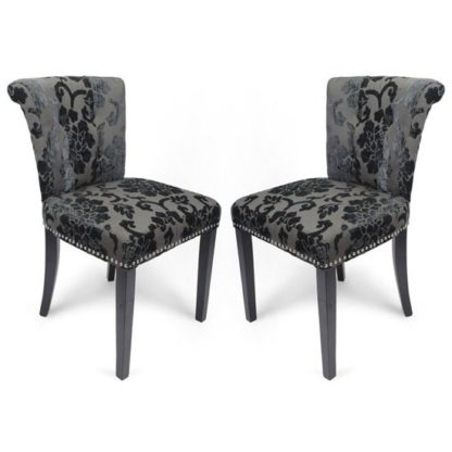 An Image of Sandringham Charcoal Baroque Velvet Accent Chairs In Pair