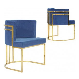 An Image of Casoli Blue Velvet Dining Chairs In Pair With Gold Legs