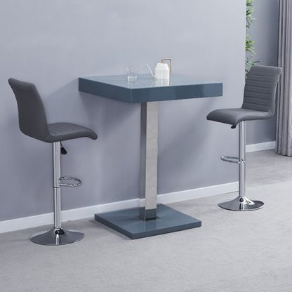 An Image of Topaz Glass Bar Table In Grey With 2 Ripple Grey Stools