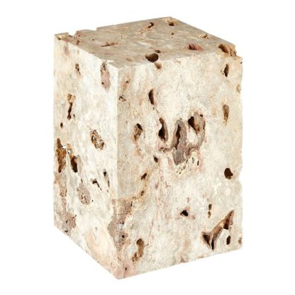 An Image of Relics Rectangular Cheese Stone Stool In Mineral Accent