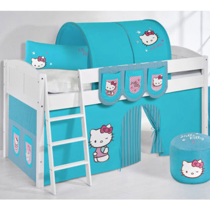 An Image of Hilla Children Bed In White With Kitty Turquoise Curtains