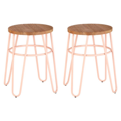 An Image of Pherkad Wooden Hairpin Stools With Pink Metal Legs In Pair