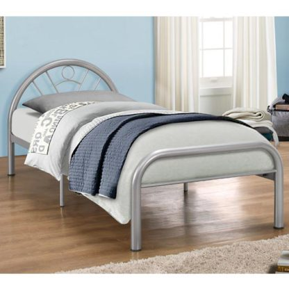 An Image of Solo Steel Single Bed In Silver