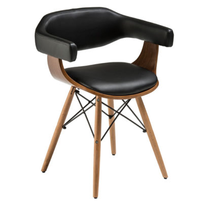 An Image of Tenova Black Faux Leather Bedroom Chair With Beech Wooden Legs