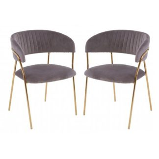 An Image of Tamzo Mink Velvet Dining Chairs With Gold Legs In Pair