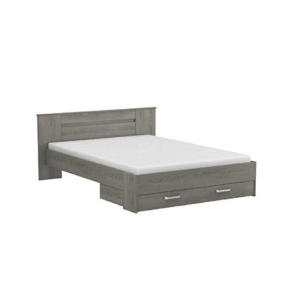 An Image of Marshall Contemporary Wooden Bed In Hudson Oak With 1 Drawer