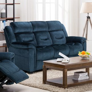 An Image of Dudley Fabric Upholstered Fixed 3 Seater Sofa In Nett Blue