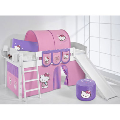 An Image of Lilla Slide Children Bed In White With Kitty Purple Curtains