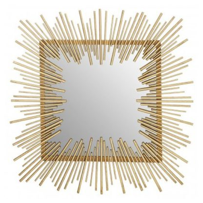 An Image of Sarnia Sunburst Design Wall Bedroom Mirror In Rich Gold Frame