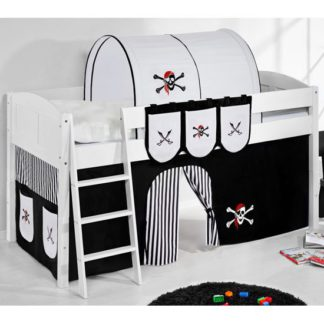 An Image of Hilla Children Bed In White With Pirate Black White Curtain