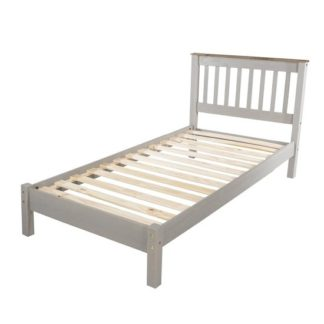 An Image of Corina Single Slatted Bed In Grey Wax Finish