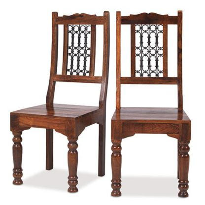 An Image of Zander Wooden Low Back Dining Chairs In A Pair With Round Legs