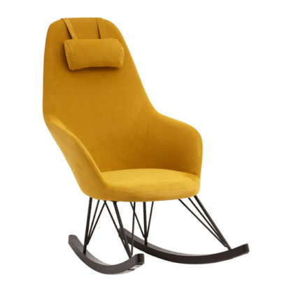 An Image of Giausar Fabric Upholstered Rocking Chair In Yellow