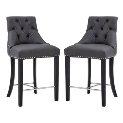 An Image of Trento Park Grey Faux Leather Bar Chairs In Pair