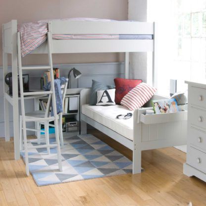 An Image of Pippin Childrens Highsleeper with Sofabed, Corner Desk And Storage Bookcase
